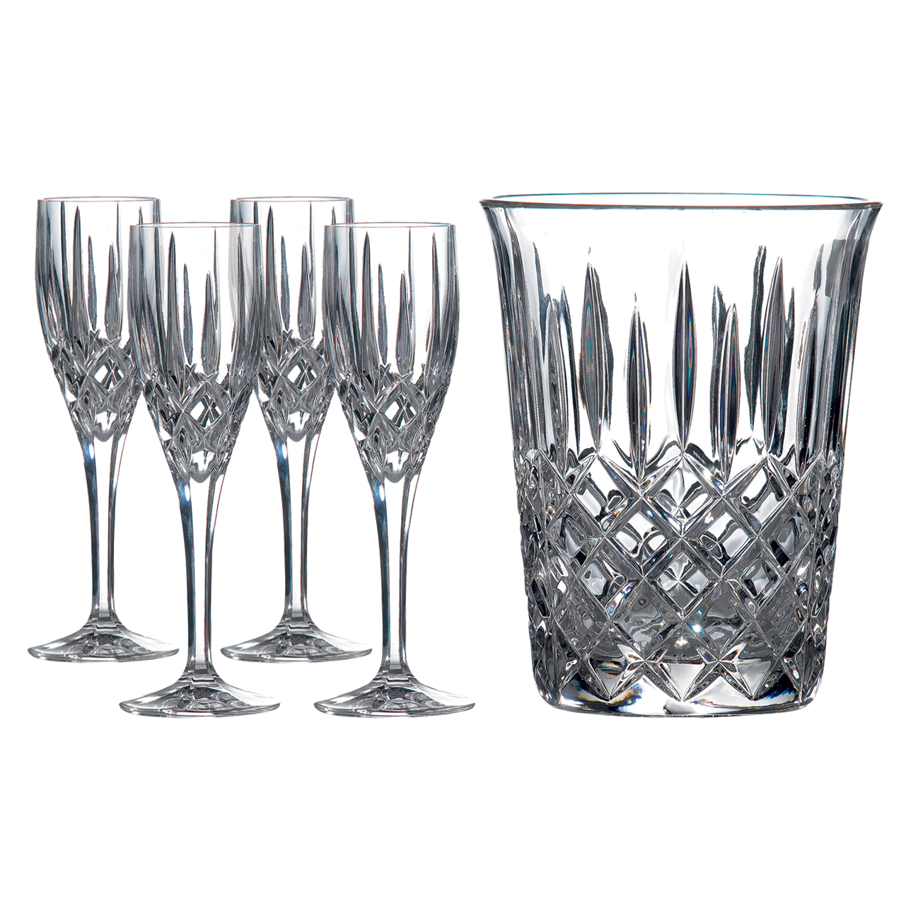 Decanter Set: Champagne Bucket and 4 Champagne Flutes