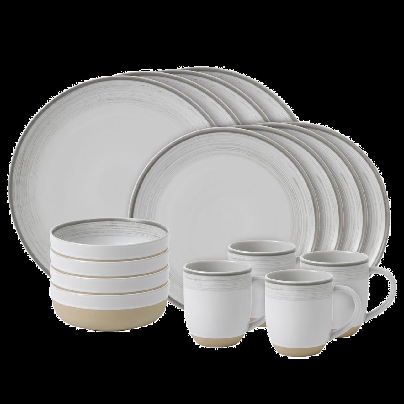 ED Brushed Glaze Soft White 16 Piece Dinner Set