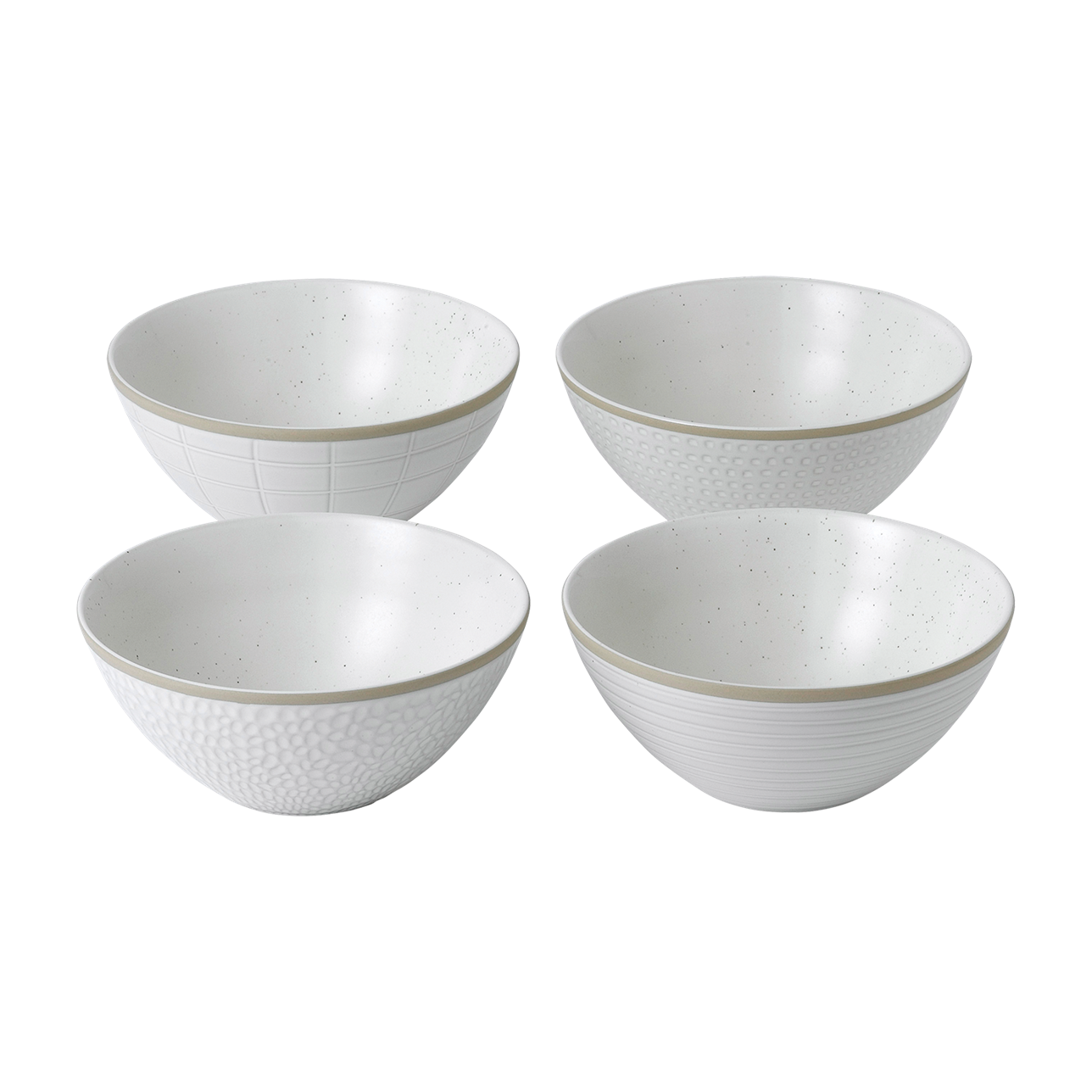 Maze Grill Mixed Pattern White Cereal Bowls