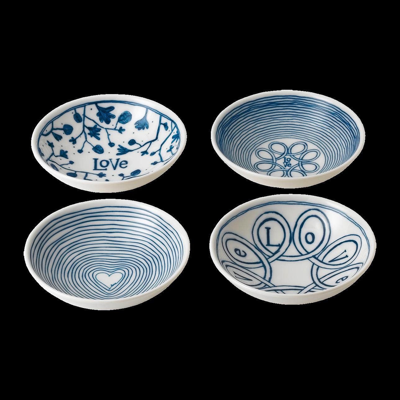 ED Blue Love Small Bowls (Set of 4)