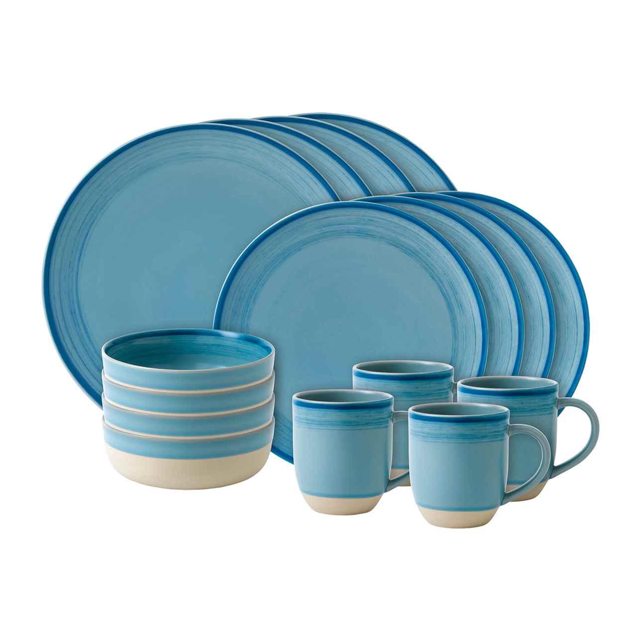 ED Brushed Glaze Polar Blue 16 Piece Dinner Set