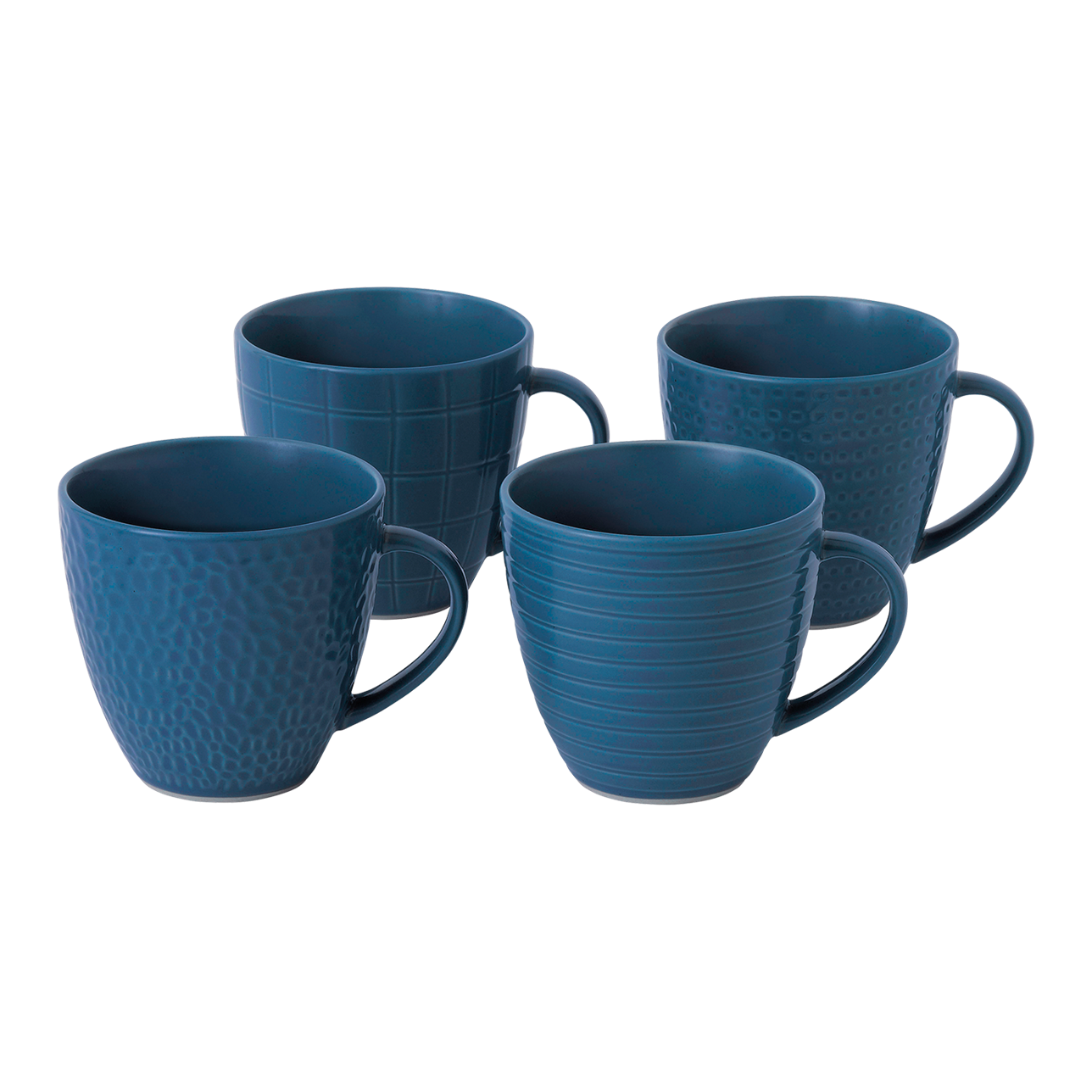 Maze Grill Mixed Pattern Blue Mug (Set of 4)