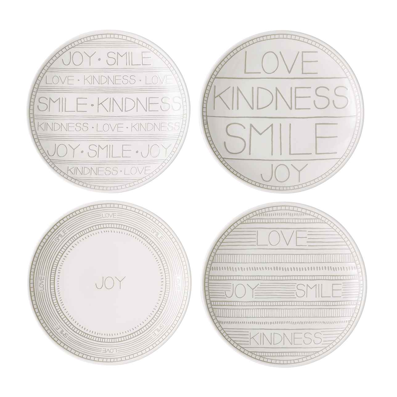 ED Taupe Accent Plates, Mixed Set of 4