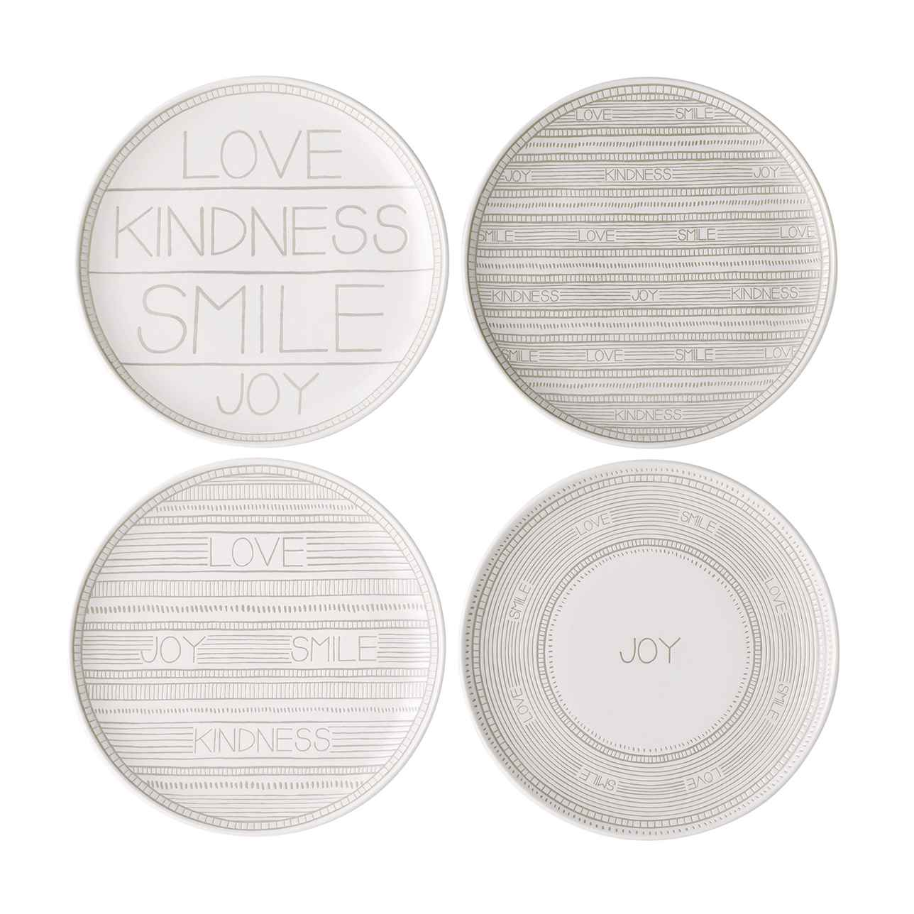ED Taupe Side Plates, Mixed Set of 4