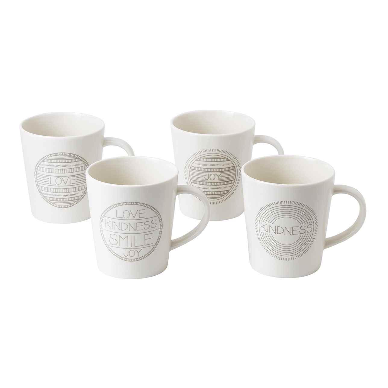 ED Taupe Mug, Mixed Set of 4